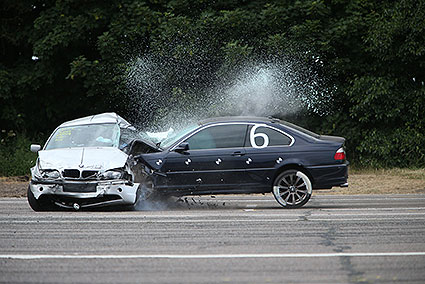 53mph crash of a BMW (dark) into the side of a stationary BMW (silver) organised by Institute of Traffic Accident Investigators