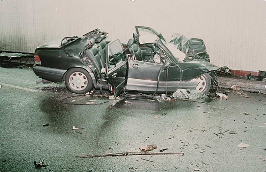 The Mercedes at the scene of the accident