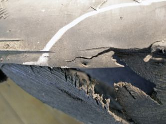 Initial area of damage to the tyre tread (penetration is at the centre of the photo)