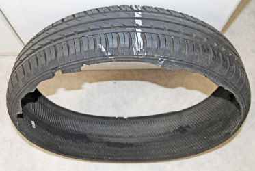 Typical high speed detachment of deflated tyre's tread