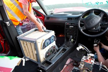 Removing the rack of instrument clusters after crash testing