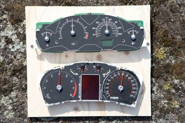 2 instrument clusters prior to crash testing
