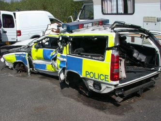 Police car driver lost control on an emergency call out